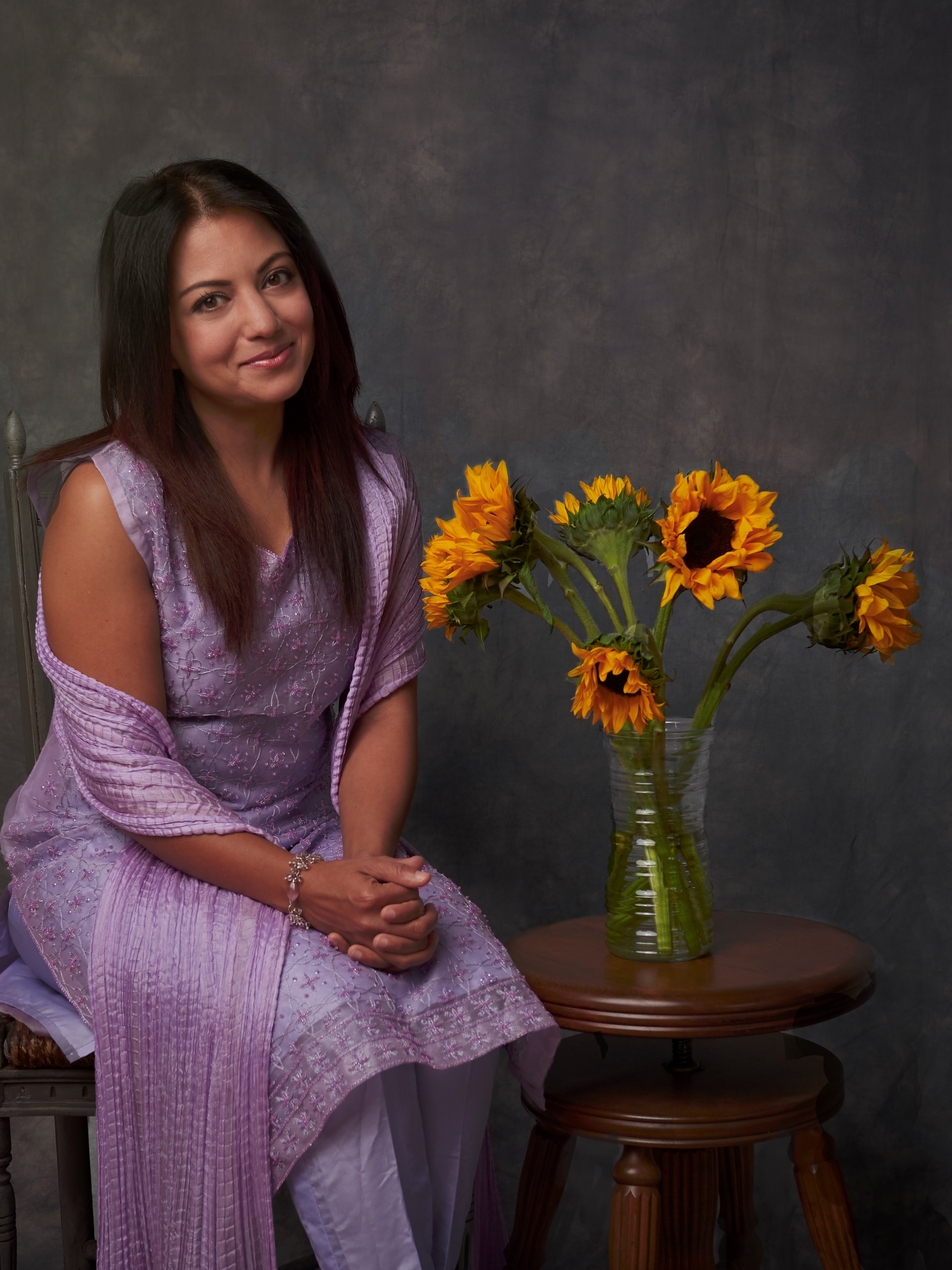 purple dress and sunflowers