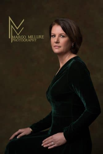 woman green velvet dress portrait photography